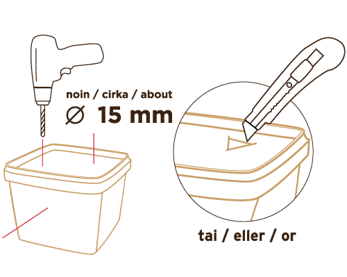 Poraa tai leikkaa reikiä muovipurkkiin - yksi reikä noin 1,5 litraa kohden